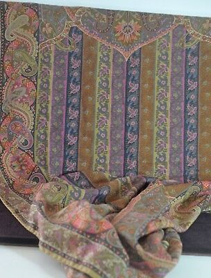 Etro Paisley Scarf Shawl Wrap Silk & Wool Subtle Colors Tt654