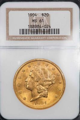 1904 NGC MS61 $20 GOLD LIBERTY DOUBLE EAGLE Item#M1929