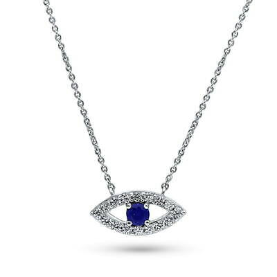 BERRICLE Sterling Silver Cubic Zirconia CZ Evil Eye Fashion Pendant Necklace