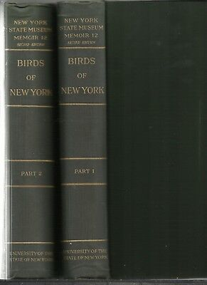 1910&'14: BIRDS OF NEW YORK 2Volumes, 1st.Eds, 1,216p, 106 ColorPlates CLEAN SET