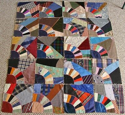 Lot of 20 Crazy Quilt Fan Pattern Antique Vtg Quilt Blocks Hand Stitched Silks