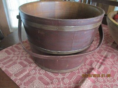 Vintage Large Wooden Bucket With Swing Handle -Nice Prim Decorating Bucket