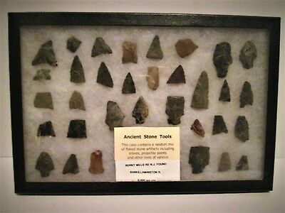 33 lot ANCIENT ARROWHEADS STONE PROJECTILE POINTS KNIVES TOOLS ARTIFACTS DUG UP