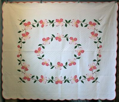 Antique Floral Applique Dogwood Quilt 1930's w/ Gorgeous Hand Quilting Pristine