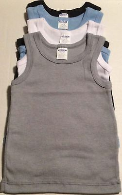 New Set Of 4-Boy's Tank-Top Solid 100% Cotton Sleeveless Undershirt Sizes: 4,5,6