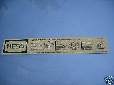 5 Hess 1964 TANKER BATTERY INSTRUCTION CARD PERFECT CONDITION