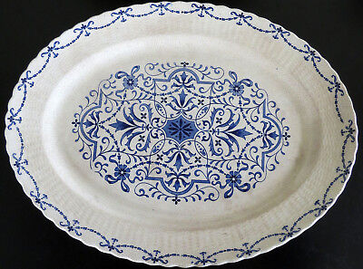 "Antique Blue Minton Norwich Porcelain 17.25"" Platter Basketweave Rim 1863-1872"