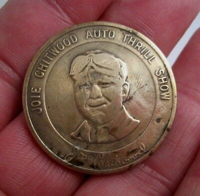 Vintage JOIE CHITWOOD AUTO THRILL SHOW INDIAN HEAD GOOD LUCK COIN TOKEN
