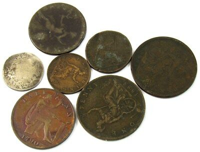 Lot of 7 English Coins -6th to 18th & 19th Century- 1790 Condor Token ½ Penny