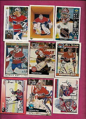 9 X 1990S Montreal Canadiens Patrick Roy Goalie  Card