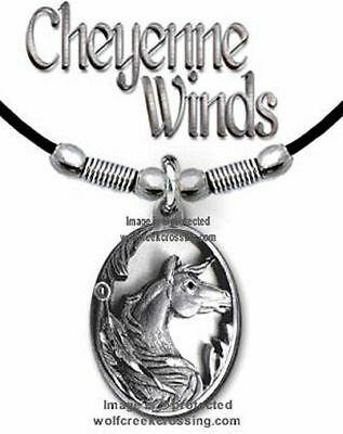 """Cheyenne Winds Horse Necklace Horses Equestrian Jewelry - Free Ship 24"""" Leather"""