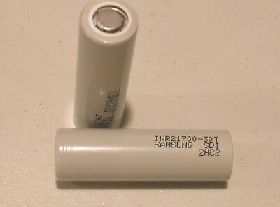 2 pc  Samsung INR21700-30T Rechargeable 35a High Drain Battery 3000mAh flat top