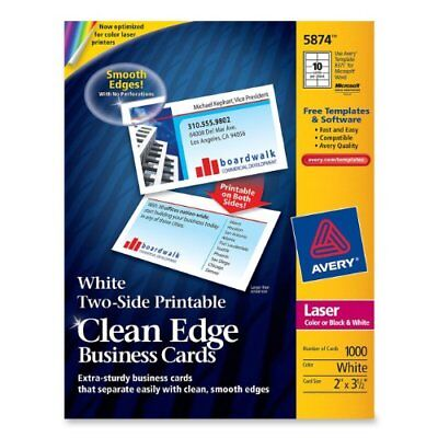 """Avery Clean Edge Business Card - For Laser Print - 3.50"""" X 2"""" - 1000 / (ave5874)"""