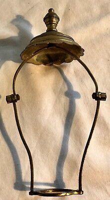 Antique Ornate Brass Adjustable Desk Table  Lamp Shade Fitting c1910