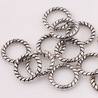 25 Pcs Tibetan Silver 15mm Twisted Closed Connector Jump ring Linking Ring S20