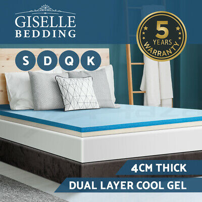 Giselle Bedding Memory Foam Mattress Topper 4CM Dual Layer Cool Gel Underlay