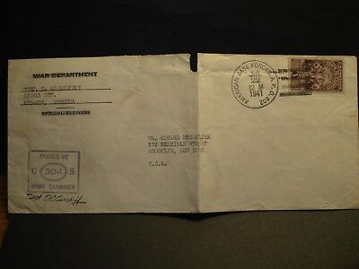 APO 802 BERMUDA 1941 Censored WWII Army Cover Signal Det Soldier's Mail