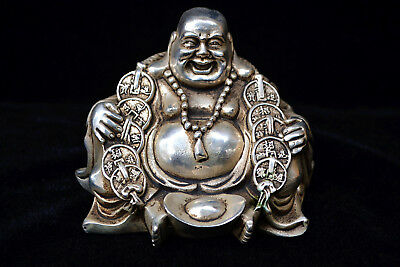 chinese Collectible Old tibet Silver carve buddha coin handwork big Statue