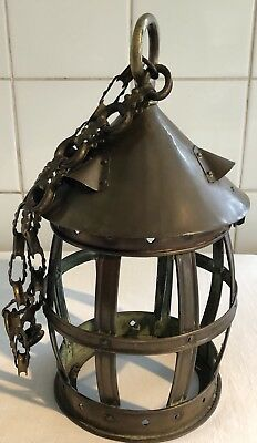 Antique Brass Hanging Ships Ceiling Hall Light Lantern With Chain