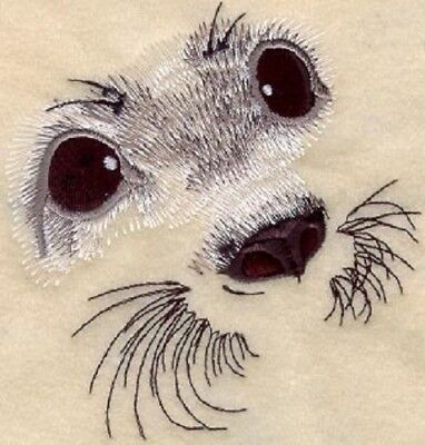 Embroidered Short-Sleeved T-Shirt - Baby Harp Seal Eyes M1278 Sizes S - XXL