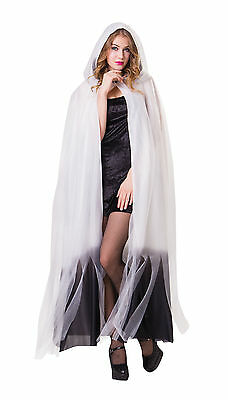 Ladies White & Black Ombre Hooded Cape Halloween Horror Fancy Dress P9341