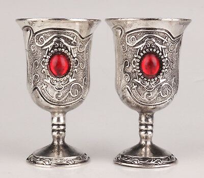 2 Tibetan Silver Wine Cup Old Inlaid Ruby Handicraft Gift Collection Value