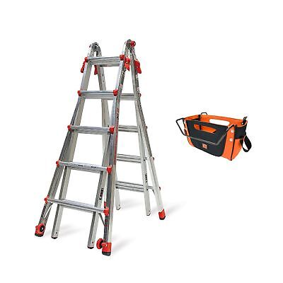 Little Giant Ladder Systems 22 Ft Aluminum Multi Position Ladder w/ Tool Pouch