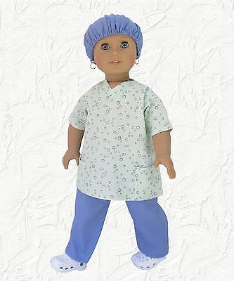 Doll Clothes Periwinkle Scrub Set 3 piece Made for 18 inch American Girl