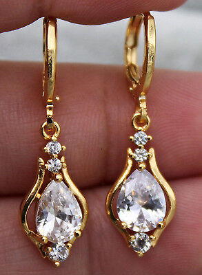 18K Yellow Gold Filled - 1.2'' Hollow Teardrop Cear Topaz Gems Party Earrings