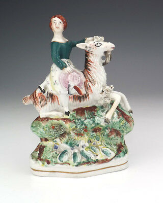 Antique Staffordshire Pottery - Lady Riding A Goat Figure - Unusual!