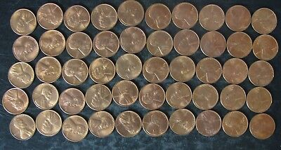 Roll (50) 1944-S BU Lincoln Wheat Cents/Pennies - No Reserve