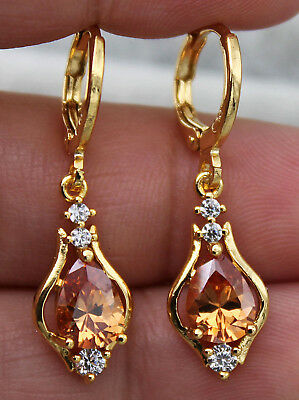 18K Yellow Gold Filled- 1.2'' Hollow Teardrop Morganite Topaz Gems Lady Earrings