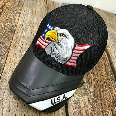 BLUE Eagle USA American Flag Mesh Baseball Cap With Leather Bill NEW