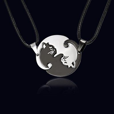 Stainless Steel Couple Cat Hug Love Leather Pendant Necklace Women Jewelry Gift