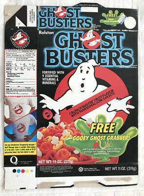 Old Vintage 1986 1980's 80's Ralston Ghostbusters Cereal Box Gooey Ghost Grabber