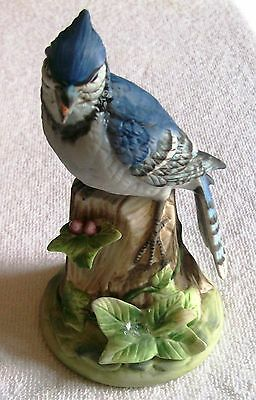 Vintage Gorham Gallery Of Birds  Porcelain Blue Jay Sitting On Stump  , Japan