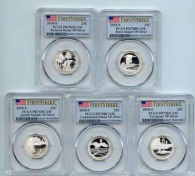 2018 S Silver National Parks Quarter Set PCGS PR70DCAM First Strike