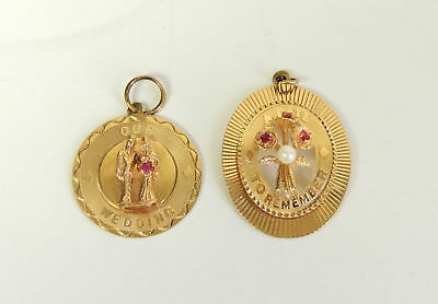 2 Vintage 14K Gold & Ruby Our Wedding & Date to Remember Charms 8.0g