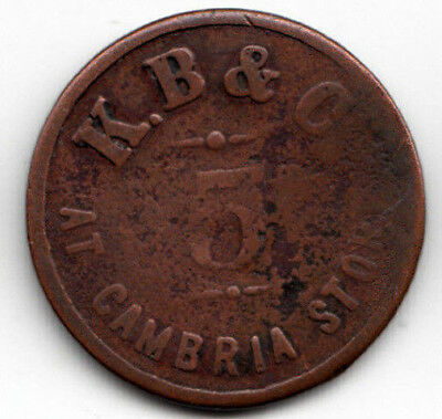 Cambria Wyoming R-8 5c coal token - K.B. & C. - 1897 - WY 441-A5
