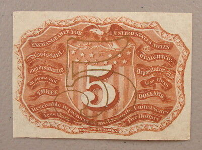 1863 Fr. 1232SP 5¢ Fractional Currency Back Specimen Choice Uncirculated