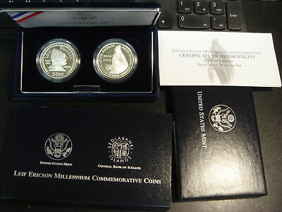 2000 US Mint Leif Ericson 2 Coin Proof Set Silver Dollar Iceland Kronur BOX &COA
