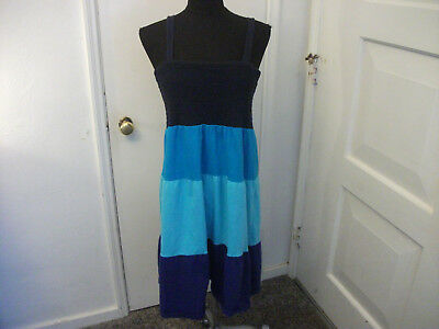 Faded Glory Dress-Size Xl-Blue-Spaghetti Straps-100% Cotton