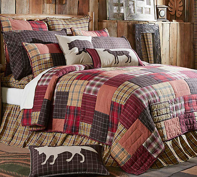 WYATT Cal King QUILT : COUNTRY CABIN LODGE LUXURY RED BLACK PLAID RUSTIC