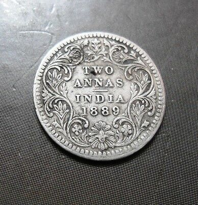 British India - Victoria Queen - Two Annas - 1889 - 2 Annas - Silver Coin