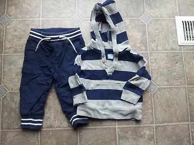 boys baby gap size 12-18 months lot outfit pants hoodie sweater blue grey