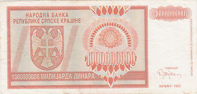 1 Milliarde Denara Vf Banknote From Krajina Republic/knin 1993!