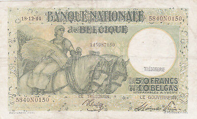 50 Francs Fine Banknote From German Occupied Belgium 1944!pick-106