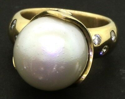 Heavy 14K gold .42CT diamond & 14.2mm South Seas pearl cocktail ring size 7