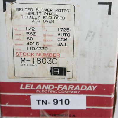Leland Faraday Blower Motor M-1803C 1/2 HP  1725 RPM 115/230 Volts    TN910