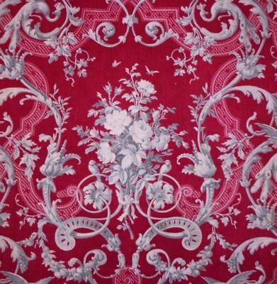 BEAUTIFUL MID 19th CENTURY FRENCH ROCOCO LINEN TOILE, ROSES PEACOCKS BUTTERFLIES